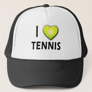 I Love Tennis with Tennis Ball Heart Trucker Hat