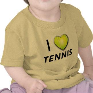 I Love Tennis with Tennis Ball Heart T Shirts