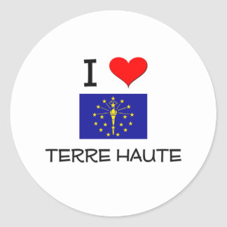 I Love TERRE HAUTE Indiana Round Stickers
