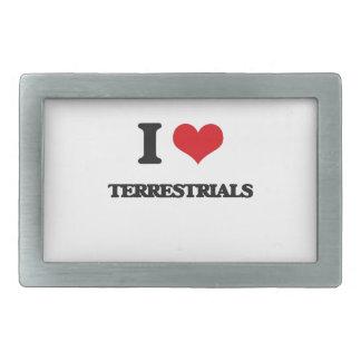 I love Terrestrials Rectangular Belt Buckle
