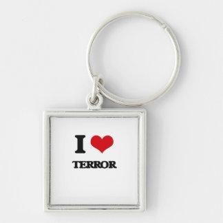 I love Terror Silver-Colored Square Keychain