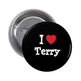 I love Terry heart T-Shirt Button