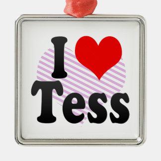 I love Tess Square Metal Christmas Ornament