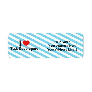 I Love Test Developers Return Address Labels