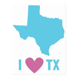 I Love Texas Blue and Pink Postcard