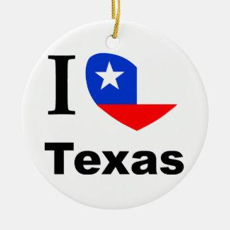 I Love Texas Ceramic Ornament