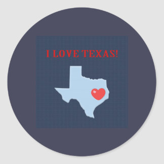 I Love Texas Classic Round Sticker