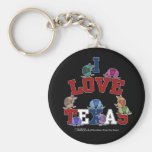 I Love Texas-Colorful Armadillos Basic Round Button Keychain