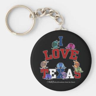 I Love Texas-Colorful Armadillos Keychain