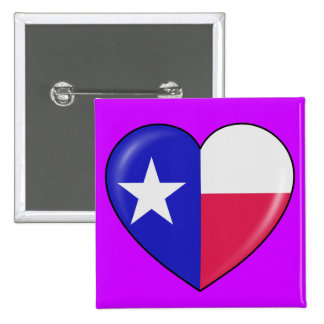 I Love Texas - Heart of Patriotic Texan Button