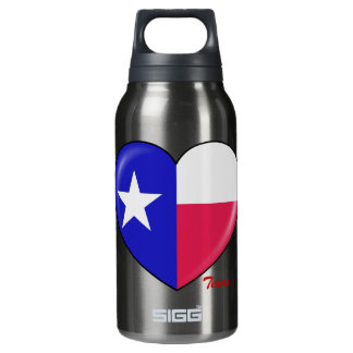 I Love Texas - Heart of Patriotic Texan Insulated Water Bottle