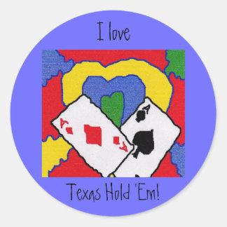 I Love Texas Hold Em! Classic Round Sticker