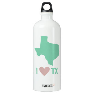 I Love Texas in Mint and Pink Aluminum Water Bottle