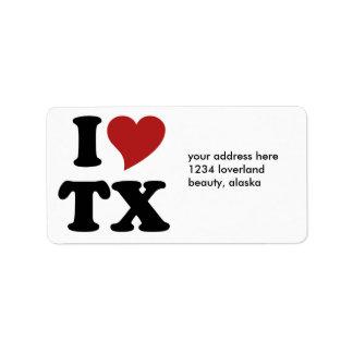 I Love Texas Custom Address Label