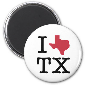 I Love texas 2 Inch Round Magnet