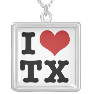 I Love Texas Square Pendant Necklace