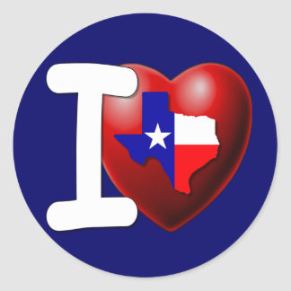 I Love Texas - The Lone Star State Round Stickers
