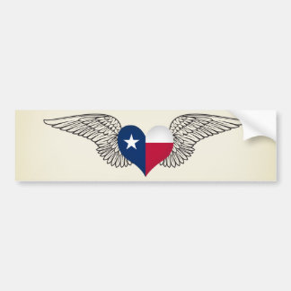 I Love Texas -wings Bumper Sticker