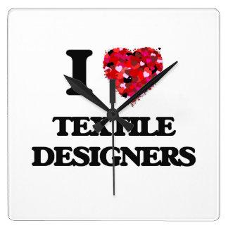 I love Textile Designers Square Wallclocks