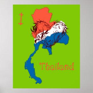I Love Thailand Poster Green