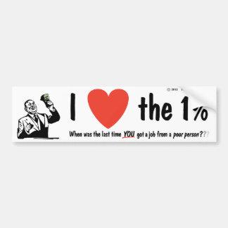 I LOVE the 1% Car Bumper Sticker