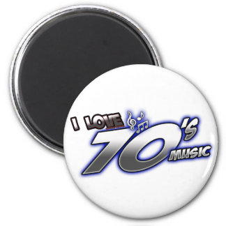 I Love the 70s Seventies 1970s MUSIC in 70s fan 2 Inch Round Magnet