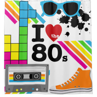 I Love the 80s Cassette Tape High Top Sneaker Shower Curtain