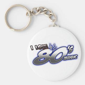 I Love the 80s Eighties MUSIC 1980s music fan Keychain