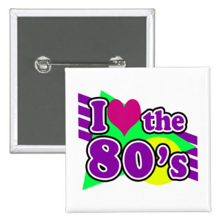 I Love the 80's Geometric Neon Eighties Party 2 Inch Square Button