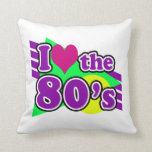 I Love the 80's Geometric Neon Eighties Party Throw Pillow