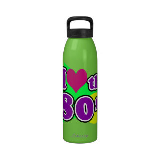 I Love the 80's Geometric Neon Eighties Party Reusable Water Bottles