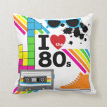 "I Love the 80s Pillow<br><div class=""desc"">Bright colors and a fun design on I Love the 80s pillow,  featuring a high top sneaker,  ink spots,  rainbow stripes,  sunglasses,  cassette tape,  and a red heart with &quot;I Love the 80s&quot; text.</div>"