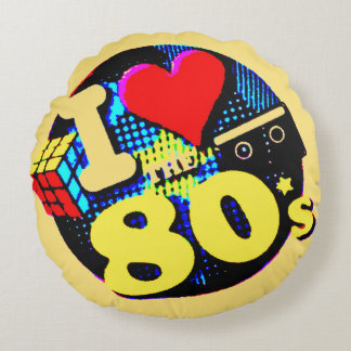 I Love The 80s Round Pillow