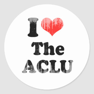 I LOVE THE ACLU.png Round Stickers