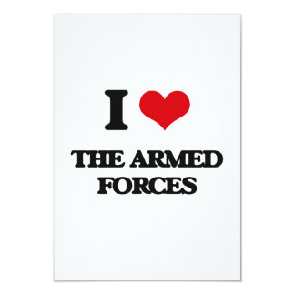 """I Love The Armed Forces 3.5"""" X 5"""" Invitation Card"""