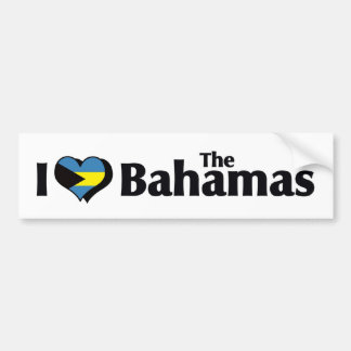 I Love The Bahamas Flag Car Bumper Sticker