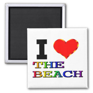 I Love The Beach 2 Inch Square Magnet