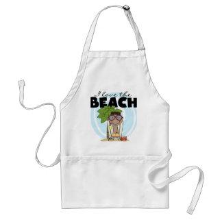 I Love the Beach African American Boy Tshirts Aprons