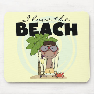 I Love the Beach African American Boy Tshirts Mouse Pad