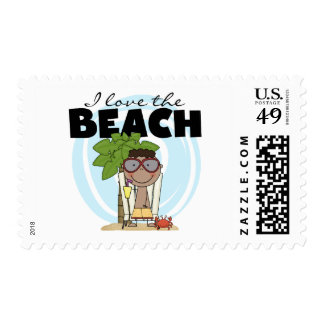 I Love the Beach African American Boy Tshirts Postage