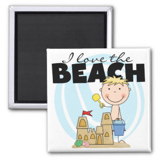 I Love the Beach Blond Boy Tshirts and Gifts 2 Inch Square Magnet