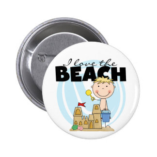 I Love the Beach Blond Boy Tshirts and Gifts Pinback Button