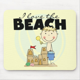 I Love the Beach Blond Boy Tshirts and Gifts Mouse Pad