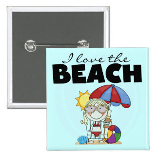 I Love the Beach Blond Girl Tshirts and Gifts Pinback Button