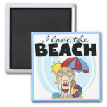I Love the Beach Blond Girl Tshirts and Gifts Fridge Magnets
