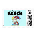 I Love the Beach Blond Girl Tshirts and Gifts Stamps