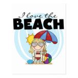 I Love the Beach Blond Girl Tshirts and Gifts Postcard