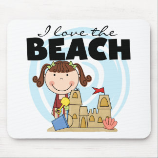 I Love the Beach Brunette Girl Tshirts and Gifts Mouse Pad