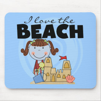 I Love the Beach Brunette Girl Tshirts and Gifts Mousepad