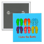 I Love the Beach - Colorful Flip Flops Button
